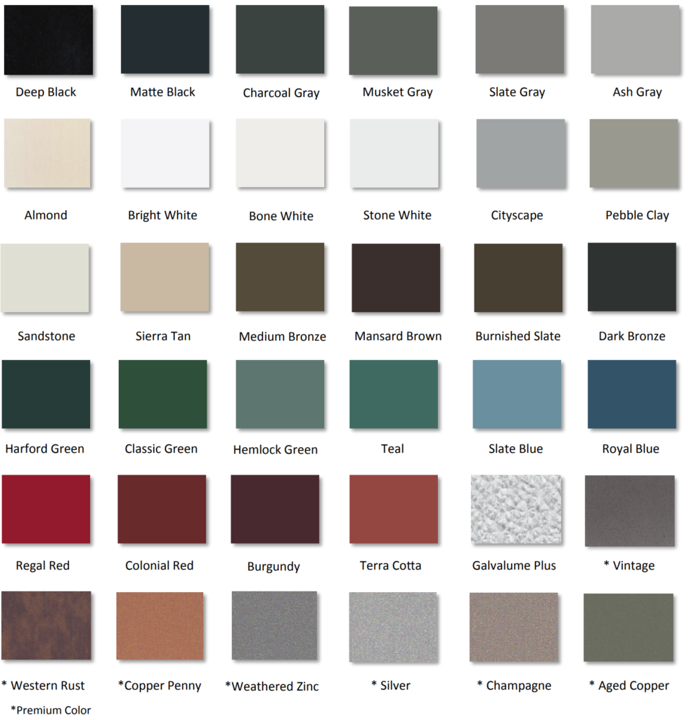 Available Colors Cmr Custom Metal Roofing